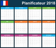 French Planner blank for 2018. Scheduler, agenda or diary template. Week starts on Monday Stock Photography