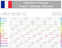 2015 French Planner-2 Calendar with Horizontal Months. On white background Stock Photo