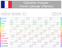 2014 French Planner-2 Calendar with Horizontal Months Stock Image