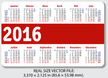 French pocket calendar for 2016. Standard size ISO 7810 ID-1, vector Royalty Free Stock Photo