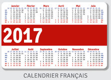 French pocket calendar for 2017. Standard size ISO 7810 ID-1, vector template Royalty Free Stock Photos