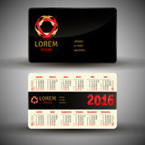 French pocket calendar for 2016. Vector template Royalty Free Stock Photography