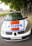 French police. Car with revolving light at paris parked Royalty Free Stock Photography