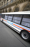 French police. Bus parked at paris Stock Photos