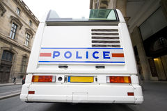 French police. View back of the french police bus parked at paris Royalty Free Stock Image