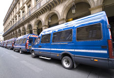 French police. Many french police vans bus of gendarmerie parked at paris Royalty Free Stock Images