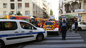 French Police cars and Firefighters Trucks Royalty Free Stock Photos