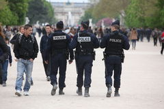 French police control the street, Paris the 27 Royalty Free Stock Photos