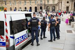 French police controlling the streets of Paris Royalty Free Stock Photos