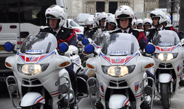 French police motorcade Stock Photo