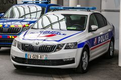 French Police Nationale patrol car. PARIS - OCT 2, 2018: French Police Nationale patrol car outside at the Paris Motor Show royalty free stock image