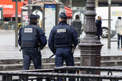 French police officers in a street of Paris Stock Photography
