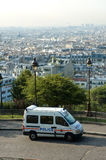 French police van in Montmartre royalty free stock images