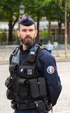 The French policeman on duty in Bastille Day military parade, Pa Stock Photography