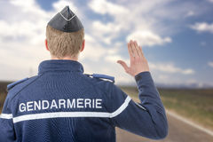 French policeman on the roadside Royalty Free Stock Photography