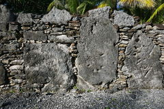 French Polynesia ancient stone structure marae Royalty Free Stock Photography