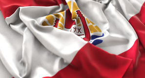 French Polynesia Flag Ruffled Beautifully Waving Macro Close-Up Stock Photo