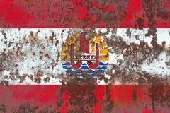 French Polynesia grunge flag, France dependent territory flag.  Royalty Free Stock Photos