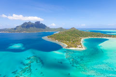 French polynesia from helicopter. Gorgeous view at bora bora island from the helicopter Stock Images