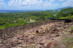 French Polynesia Huahine ancient stone structure Stock Photo