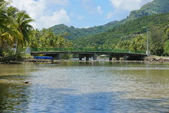 French Polynesia Huahine bridge over sea channel Royalty Free Stock Photography