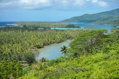 French Polynesia Huahine lagoon islands landscape Stock Photography
