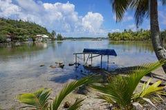 French Polynesia Huahine landscape shore of lake Stock Images