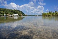 French Polynesia Huahine landscape village lake Stock Photos