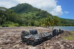 French Polynesia marae old stone structure Huahine Stock Images
