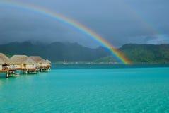 French Polynesia - Rainbow in Taha stock photo