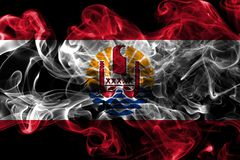 French Polynesia smoke flag, France dependent territory flag.  Royalty Free Stock Images