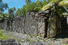 French Polynesia stone structure marae Huahine Royalty Free Stock Photos