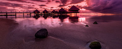 French Polynesia. Tahiti sunset on a sandy beach Stock Photo