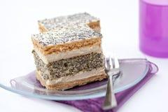 French poppy seed cake slice Royalty Free Stock Photos