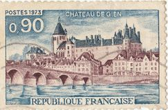 French postage stamp chateau de gien. 1973 royalty free stock images