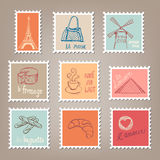 French Postage Stamps. With doodles Royalty Free Stock Photo