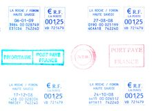 French postage  Stamps. French rubber stamps, postage meters Royalty Free Stock Photography