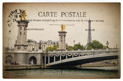 French postcard from Paris with landmark bridge Pont Alexandre Stock Photos