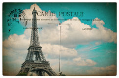 French postcard from Paris with landmark Eiffel Tower and blue s Stock Image