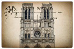French postcard from Paris with landmark Notre Dame Royalty Free Stock Image