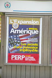 French poster satirizing America, Nice, France Royalty Free Stock Image