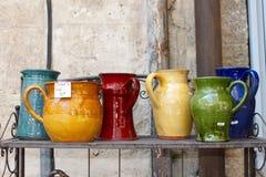 French pottery market stall Royalty Free Stock Photo