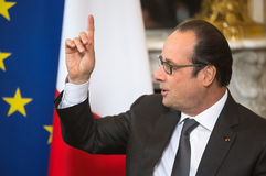 French President Francois Hollande. PARIS, FRANCE - Apr 22, 2015: French President Francois Hollande during an official meeting of the President of Ukraine Petro Royalty Free Stock Image