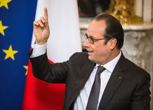French President Francois Hollande. PARIS, FRANCE - Apr 22, 2015: French President Francois Hollande during an official meeting of the President of Ukraine Petro Royalty Free Stock Photography