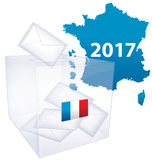 French Presidential election 2017. French map colored in blue with illustrated flag on ballot box with votes and text graphics 2017 on white stock illustration