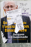French Presidential Electoral Campaign Posters vandalized. STRASBOURG, FRANCE - APR 26, 2017: Official campaign posters of Jacques Cheminade political party Stock Photo