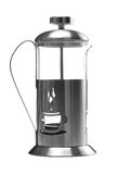 French press. Metall french press isolated on a white Stock Photos