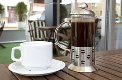 French press.... Morning coffee in the restaurant Stock Image