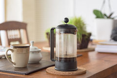 French press and breakfast Stock Photo