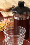 French press with coffee. French press maker with freshly made coffee Stock Photos